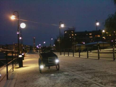 lådcykel på vintern