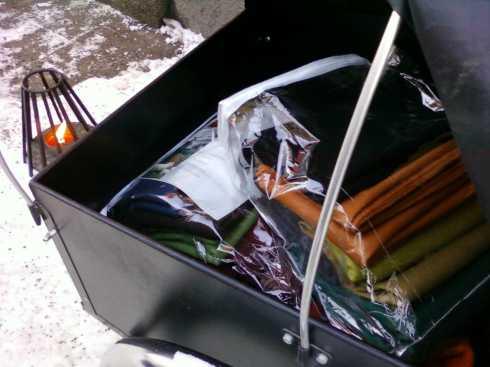 lascykel lastad med cradle to cradle-tyger